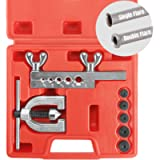 Thorstone Auto Double Flaring Tool Kit for Brake Line and Brass Tubing Tool with Extra Adapters,45 Degrees,Red