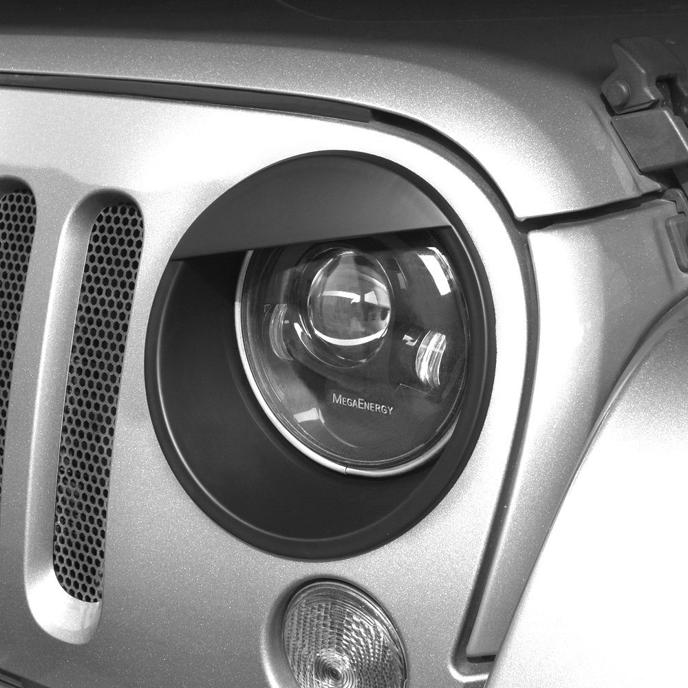 American 4wheel Jeep Wrangler Headlight Cover Headlight Bezel Headlight Trim Black for Jeep Wrangler Accessories JK JKU & Unlimited Rubicon Sahara Sports,2007-2018 - Matte Black(ABS)