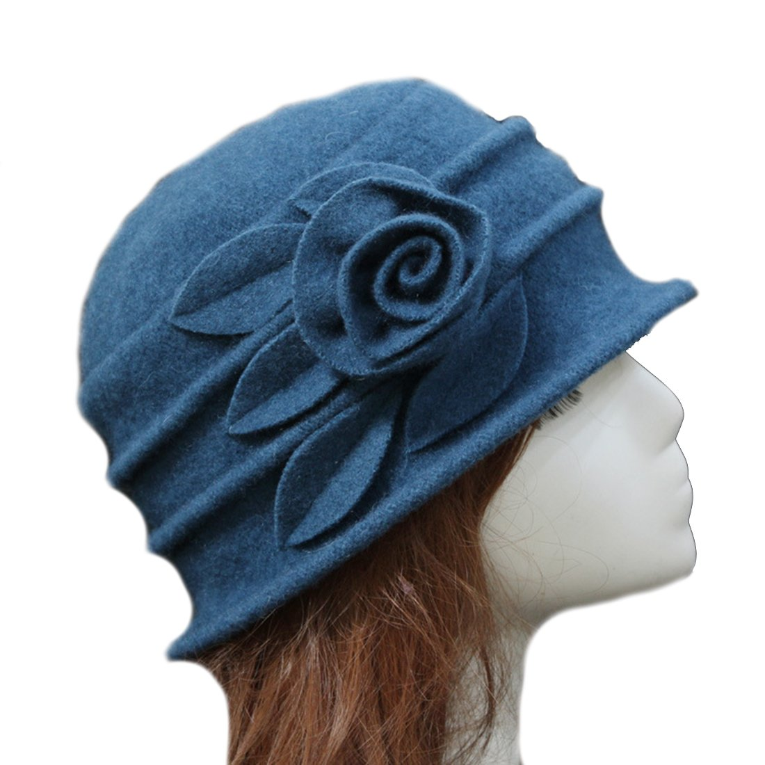 Young_Me Women'S Floral Trimmed Wool Blend Cloche Winter Hat (Model A - Peacock Blue), LARGE