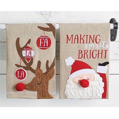 Juego de 2 toallas de vacaciones de Navidad Pastel de barro Cable Knit de Papá Noel