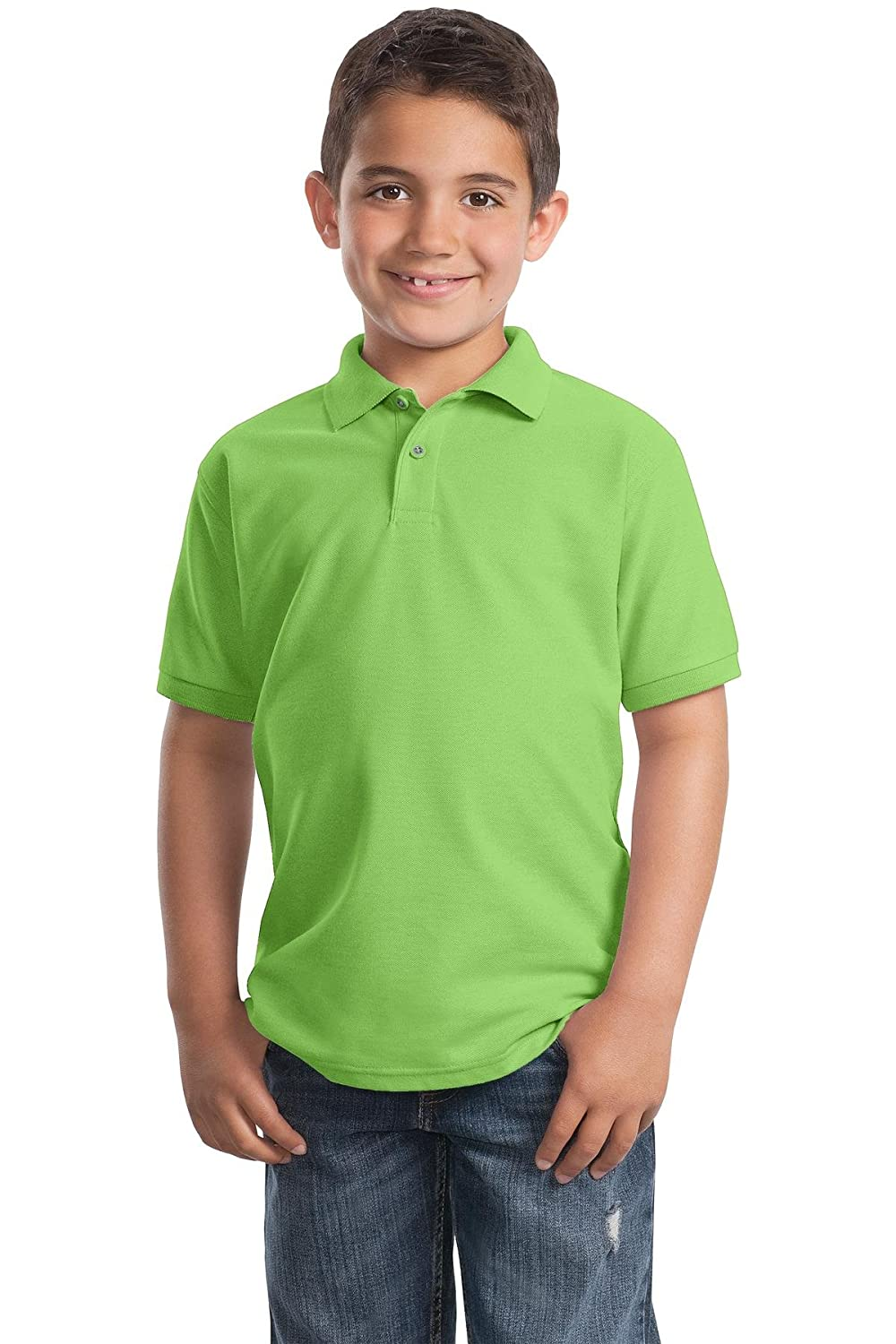 Y500 Lime L Port Authority Youth Silk Touch Polo