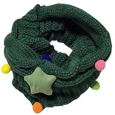 BOZEVON Écharpe mignon pour enfant et bébé Laine tricotée Tour de cou  Foulard Étoile Collier chaud b5e71b2aead