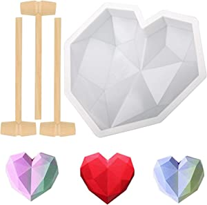 Diamond Heart Shape Silicone Cake Mold, Mousse Fudge 3D Heart Molds for Chocolate Baking Pan, Widely Used in Home Kitchen DIY Baking Tools (with 3 Pieces Mini Wooden Hammers)