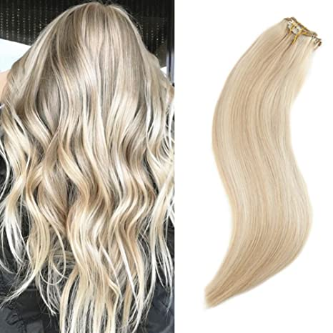 "Ugeat 20"" Extensiones Clip Cabello Natural #16/22 Golden con Medium Blonde Clip"