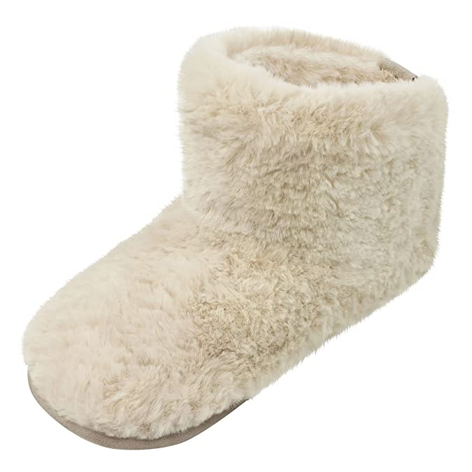 4afa2590b578 Ruby and Ed Natural Sheepy Faux Fur Slipper Boots  Amazon.co.uk  Shoes    Bags