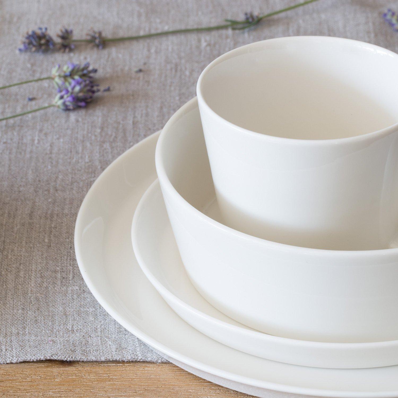 Porzellan Geschirrset Svea Hochwertiges Rundes Geschirr Set In Wei