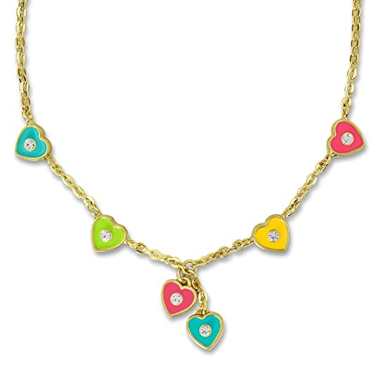 Heart and Crystal Charm Necklace for Girls Christmas Jewelry Sets Best Christmas Gifts for Girls 18k Gold Plated