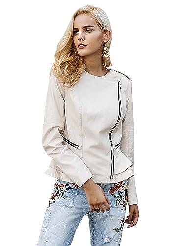 Simplee Apparel Women 's volante peplum Zip faux chaqueta de cuero Oficina outerwear