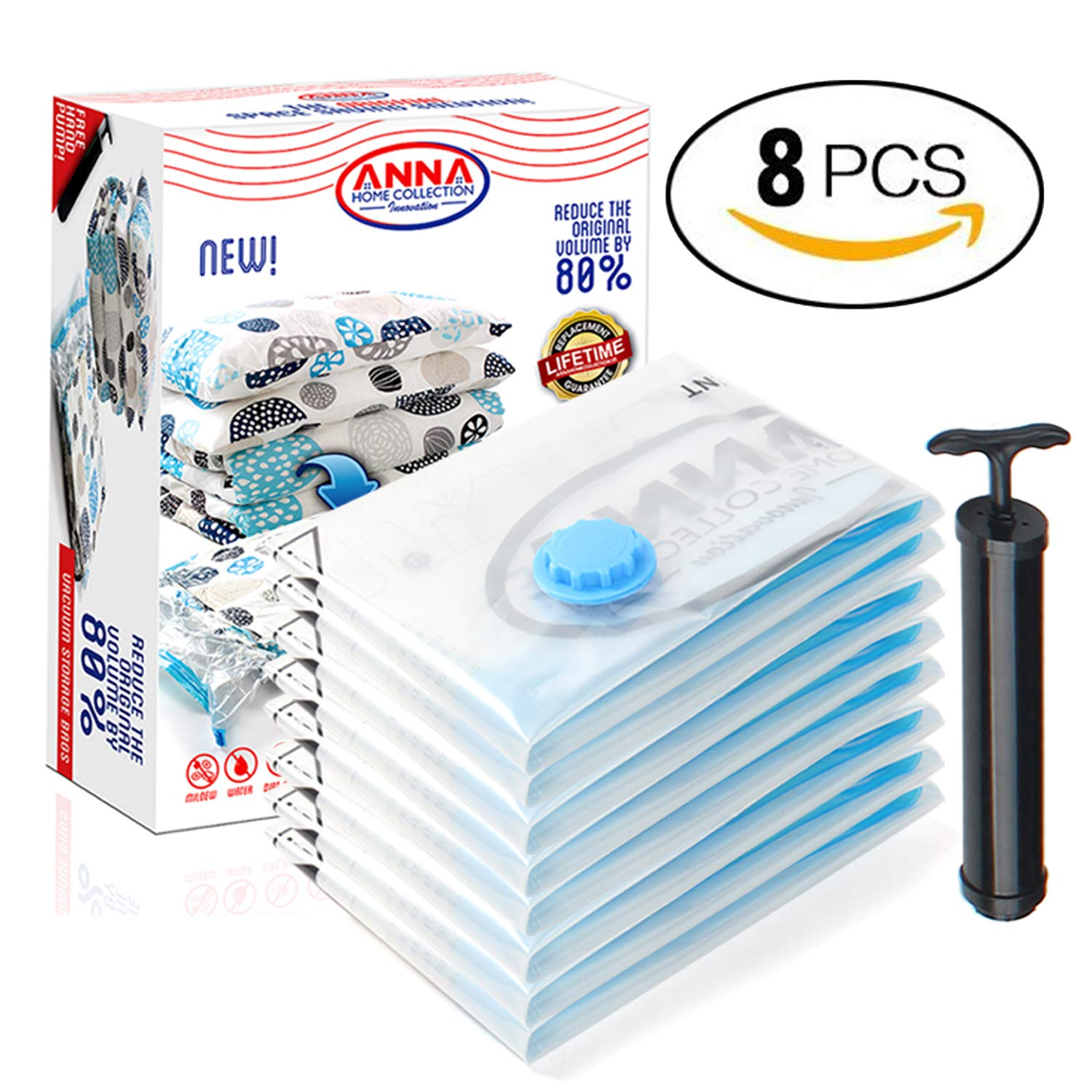 Anna Home Premium Vacuum Storage Bags 8 Pack ( 4 x Large, 4 x Medium) Space Saver Storage Bags for Travel. Durable and Reusable, Travel Hand Pump Included