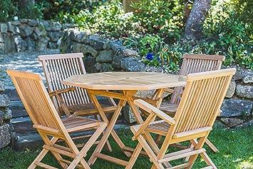 Plegable 1 m octogonal de madera maciza de teca mesa y silla ...