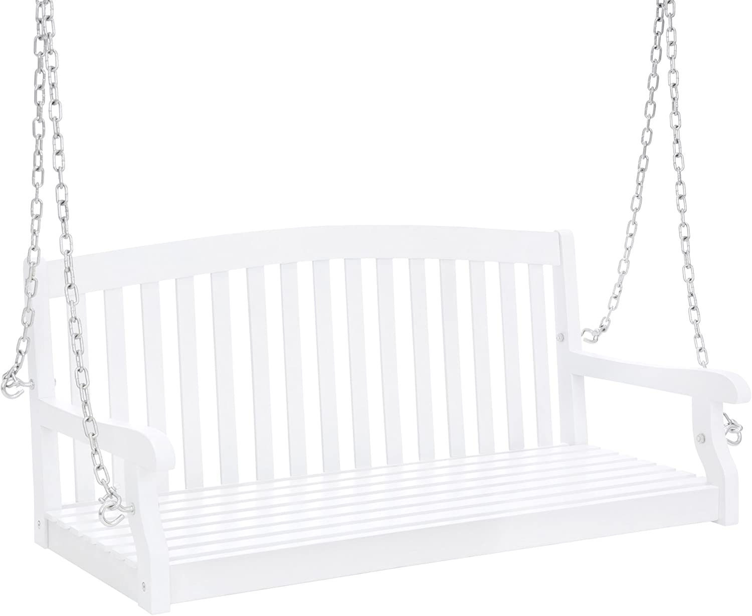 Best Choice Products 48-inch 3-Seater Wooden Curved Back Hanging Porch Swing Bench Conversation Furniture w/Metal Chains for Backyard, Front Yard, Patio, Deck, Garden, White