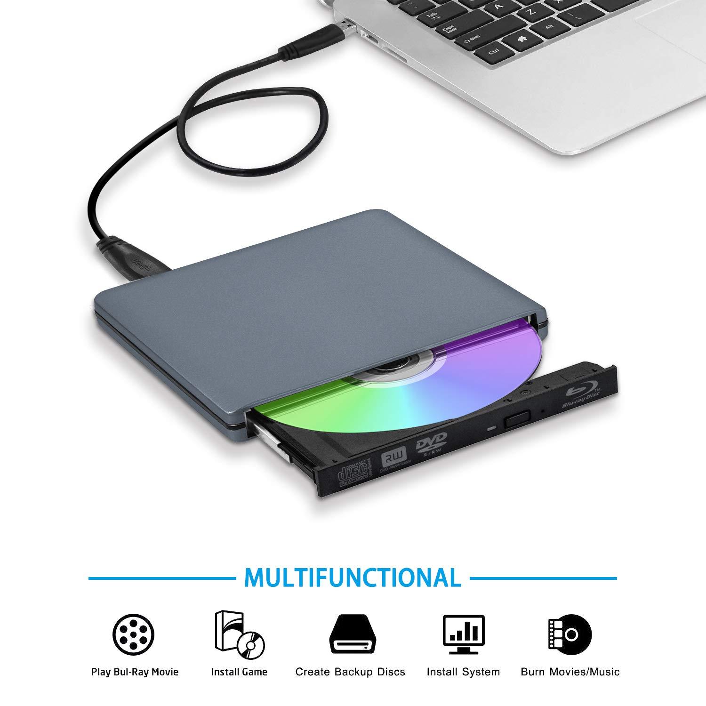 TPFeel External Blu Ray Burner Drive USB3.0 Type-C Aluminum Portable Support 100GB 128GB Large Capacity Blu-ray Writer Compatible for Apple iMac MacBook Mac OS Windows Laptop PC(Grey)