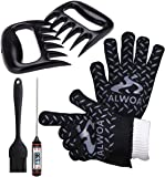Grilling Tools Set BBQ Gloves Extreme Heat Resistant Meat Shredder Claws Digital Cooking Thermometer Heat Resistant Nonstick BastingBrush for Cooking Grilling Baking Barbecue