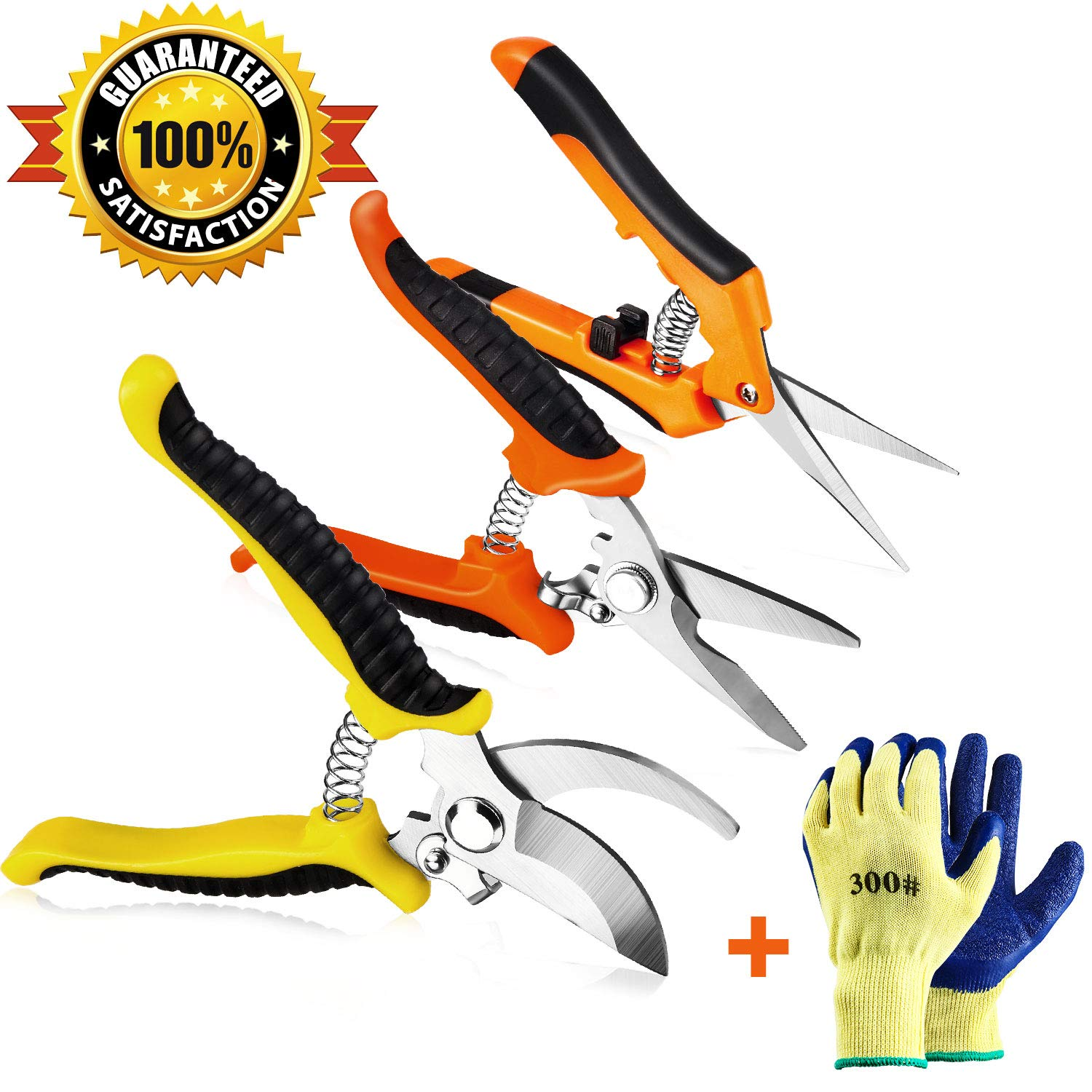 Wevove 3 Pack Garden Pruning Shears Stainless Steel Blades Handheld Pruners Set with Gardening Gloves