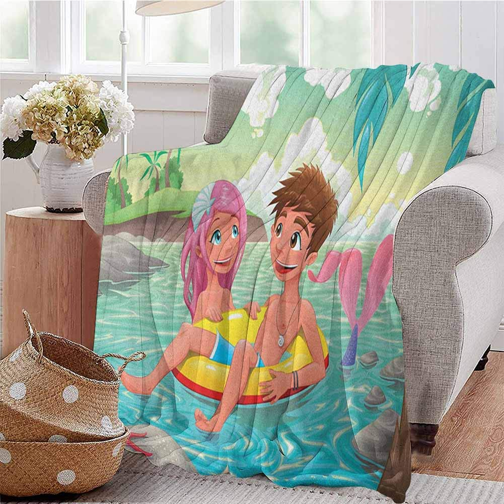 Luoiaax Mermaid Children's Blanket Teen Boy and Cute Mermaid Swimming Together in Tropical Island Fun Love Valentines Lightweight Soft Warm and Comfortable W91 x L60 Inch Multicolor by Luoiaax