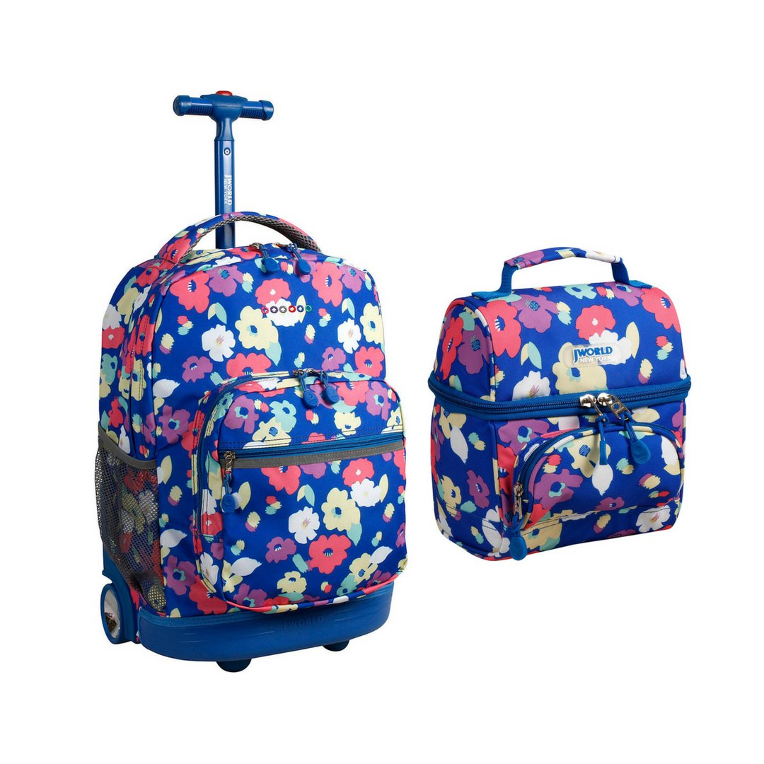 J World Combo Rolling Backpack Lunch Bag Back to School Bundle Set Sunrise Corey