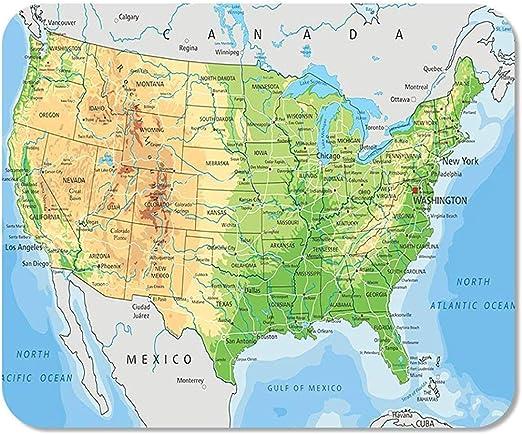 Mousepad Bloc de Notas Oficina Norte Detallado EE.UU. Mapa físico Montañas topográficas Esquema Ríos Inicio Escuela Jugador del Juego: Amazon.es: Electrónica