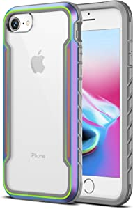 MRYUESG Designed for iPhone SE 2020 Case, Designed for iPhone 7/8 Phone Case [Military Grade Shock-Proof] Aluminum Frame, Silicone Soft Bumper, Clear Hard Back, Heavy Duty Protective Cover, Iridescent