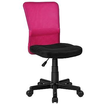 La Silla Española Mojácar Silla de Oficina, escritorio y despacho, Poliéster y Rejilla, Rosa, 50x40x95 cm