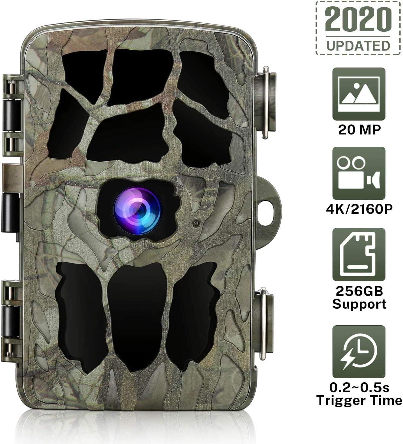 DOOK 2020 Upgrade Cámara de Caza 4k 20MP 1080P, Camara Caza con 940nm 40pcs Luz Invisible, Camara Caza Nocturna Velocidad de Disparo de 0.2s de hasta 22m, Impermeable Ip66 para Vigilancia, Cazar