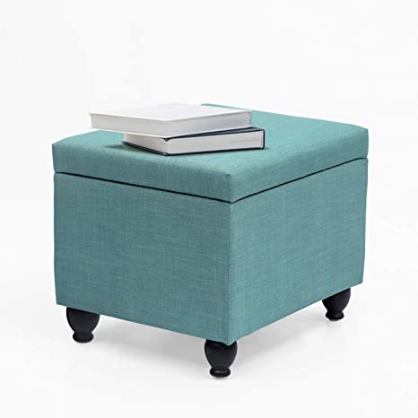 Amazing Adeco Of0086 Classic Rectangular Large 21 5X17 5X18 5 Storage Bench Ottoman Turquoise Blue Gmtry Best Dining Table And Chair Ideas Images Gmtryco