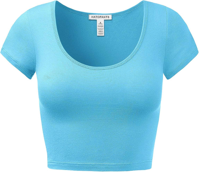 Womens Basic Solid Scoop Neck Slim Fit Short Sleeves Crop Tops