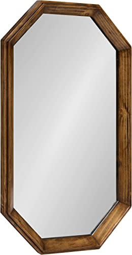 Kate and Laurel Abernathy Modern Octagon Wood Frame Wall Mirror, Rustic Brown