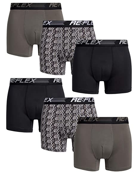 e431e5078cd40 Re:Flex Mens Compression Performance Boxer Briefs Underwear (6 Pack)
