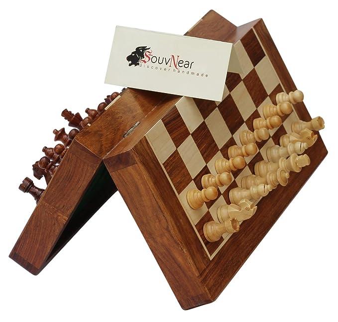 SouvNear 25 x 25 Cm Ultime Voyage en Bois Jeu d'échecs avec des Pièces Magnétiques Staunton et Plateau de jeu Pliable (Dédouble en cas de Stockage) - Fait à la Main dans Palissandre avec Fin