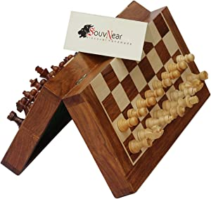 """SouvNear 10.5"""" Wood Chess Set - Handmade Premium Magnetic Folding Chess Board - Wooden Travel Staunton Chess Game with Built in Storage - Christmas & Holiday Gift Deals"""