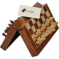 MUST BUY Premium 10x10 Chess Set with Bag - SouvNear Wooden Magnetic Classic Rosewood Staunton Folding Travel Chess Board Game with Storage for Chessmen by SouvNear