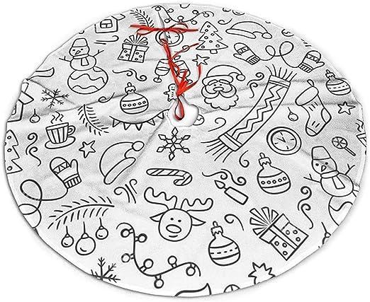 Tree Skirt Patrón De Feliz Navidad En Estilo Doodle Una Fiesta ...