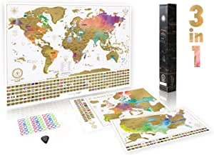 Paquete definitivo de mapa de rascar (mapa del mundo, de los EE. UU. y de Europa) | 3 mapas de rascar de gran calidad con un juego completo de accesorios y banderas