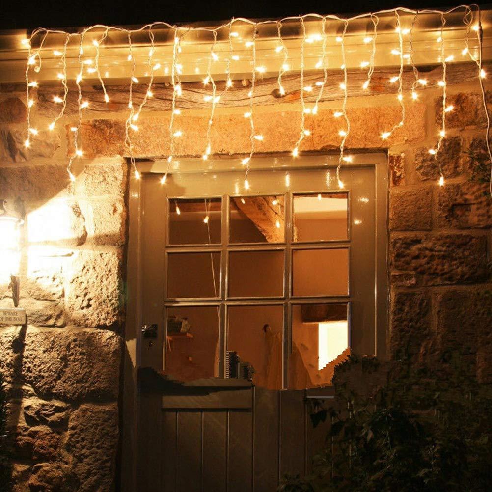FuYouTa LED Luci natalizie Stringa Tenda luminosa a cascata Luci a LED per ghiaccioli Luci di natale bianche calde 3 luci ghiacciolo luci fata per natale allaperto Stringa luci alimentata a rete