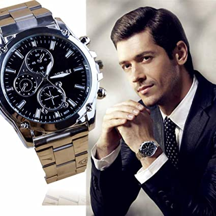 Amazon.com: Men\'s Watch,FUNIC Classic Business Men Stainless Steel ...