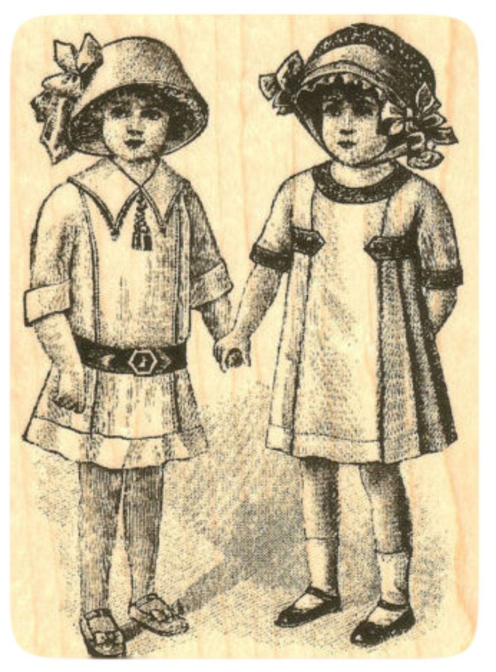 {Single Count} Unique & Custom (2 1/2'' by 3 1/2'' Inches) ''Twin Victorian Girls'' Rectangle Shaped Genuine Wood Mounted Rubber Inking Stamp
