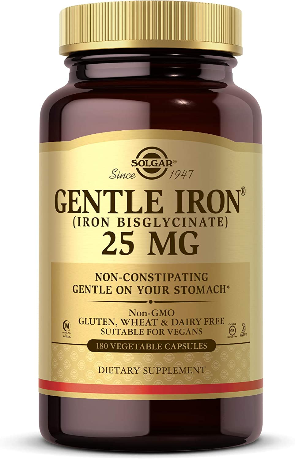Solgar Gentle Iron, 180 Vegetable Capsules - Ideal for Sensitive Stomachs - Non-Constipating  - Red Blood Cell Supplement - Non GMO, Vegan, Gluten Free, Dairy Free, Kosher - 180 Servings: Health & Personal Care