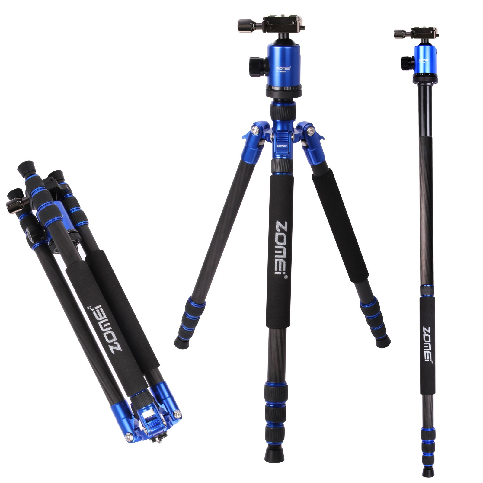 Z888C Travel Carbon Fiber Tripod with Bag by ZOMEI (Blue)