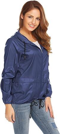 Meaneor Abrigo Impermeable Mujer Chaqueta Manga Larga Chubasquero Sudadera Deporte Portable Seco Rápido Rompevientos UV Proteger