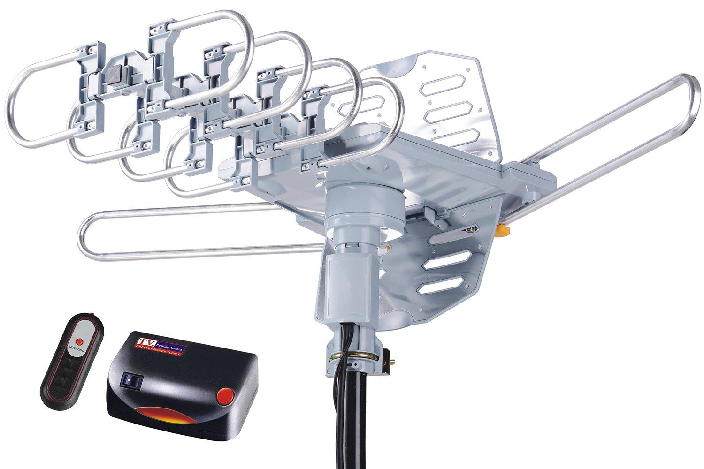pingbingding HDTV Antenna Amplified Digital Outdoor Antenna--150 Miles Range--360 Degree Rotation Wireless Remote--Snap-On Installation Support 2 TVs