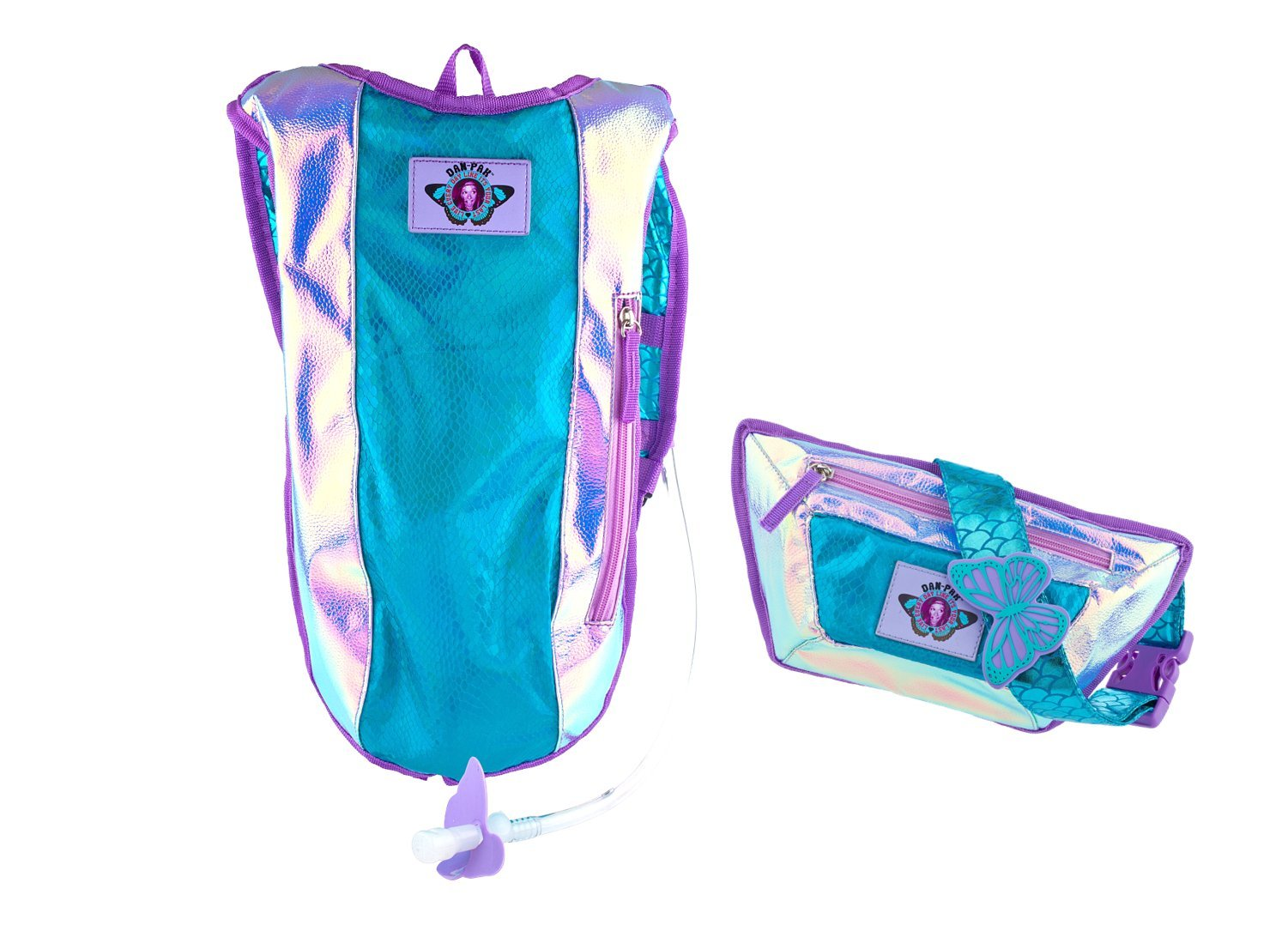 Dan-Pak Plurmaid Hydration Pack Fanny Pack!- Matching Hydration Backpack Waist Pack! -Mermaid Scales Rave Backpack Blue Purple Shiny Bag