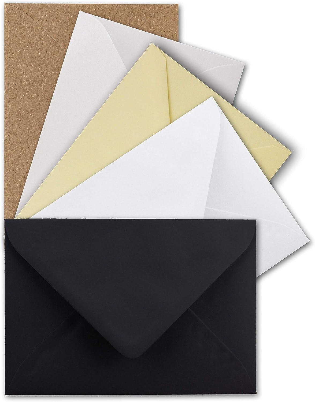 40x Umschlagpaket 5 Farben je 8 Umschl/äge ca 120 g//m/² DIN C6 die Roten 11,4 x 16,2 cm Serie Farbenfroh