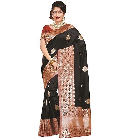 2b39bc328 Banarasi Katan Silk Black Zari Woven and Butti Work with Rich Border& Pallu  Handloom Saree: Amazon.co.uk: Clothing