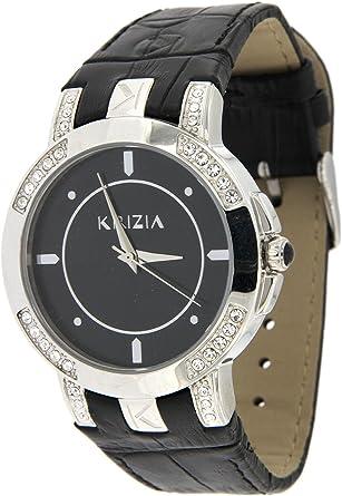 Reloj Mujer Krizia Caja Acero y Correa de Piel Negro: Amazon.es: Relojes