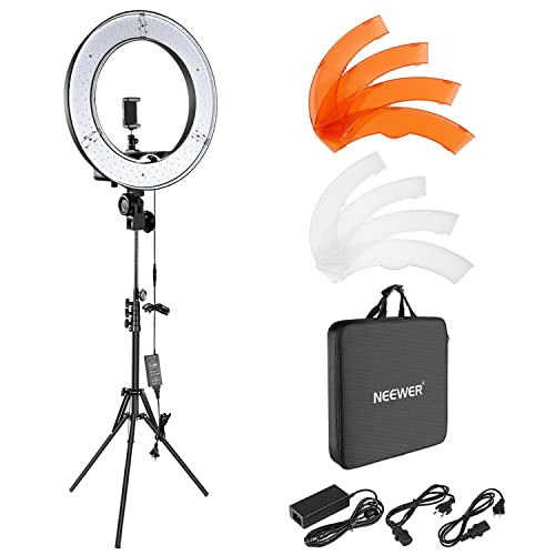 Neewer Foto/Video Luce LED Anulare 48cm Esterno, 55W 5500K Dimmerabile con Light Stand, Ricevitore Bluetooth per Smartphone, Youtube, Vine, Auto-riprese