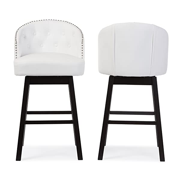 "Baxton Studio Avril Modern & Contemporary Faux Leather Tufted Swivel Barstool with Nail Heads Trim (Set of 2), 21.45"" L x 21.45"" W x 40.76"" H, White"