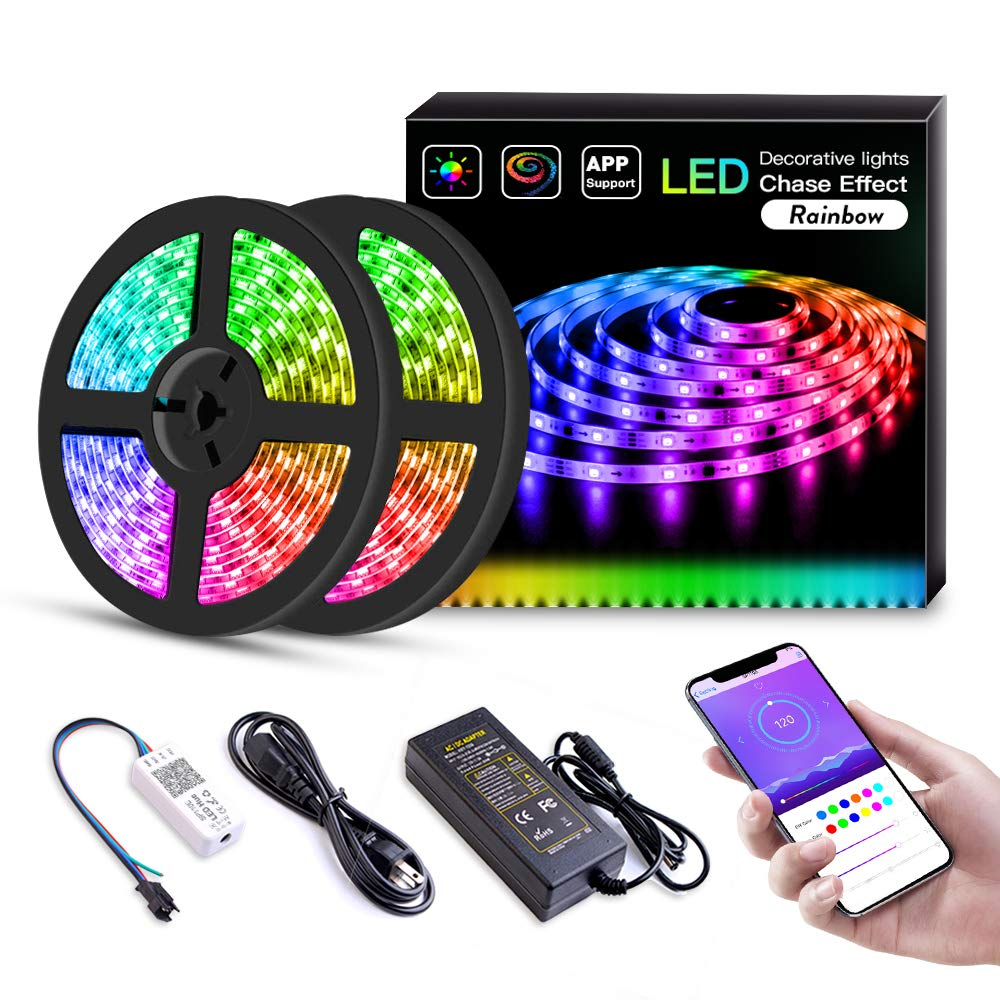 LED Strip Lights Built-in IC with App, 32.8ft/10m LED Chasing Light, 12V 5050 RGB Waterproof 300Leds Flexible-Lighting, Dream Color Changing Rope Lights Kit with Adhesive for Home Kitchen by Sanwo (Image #1)