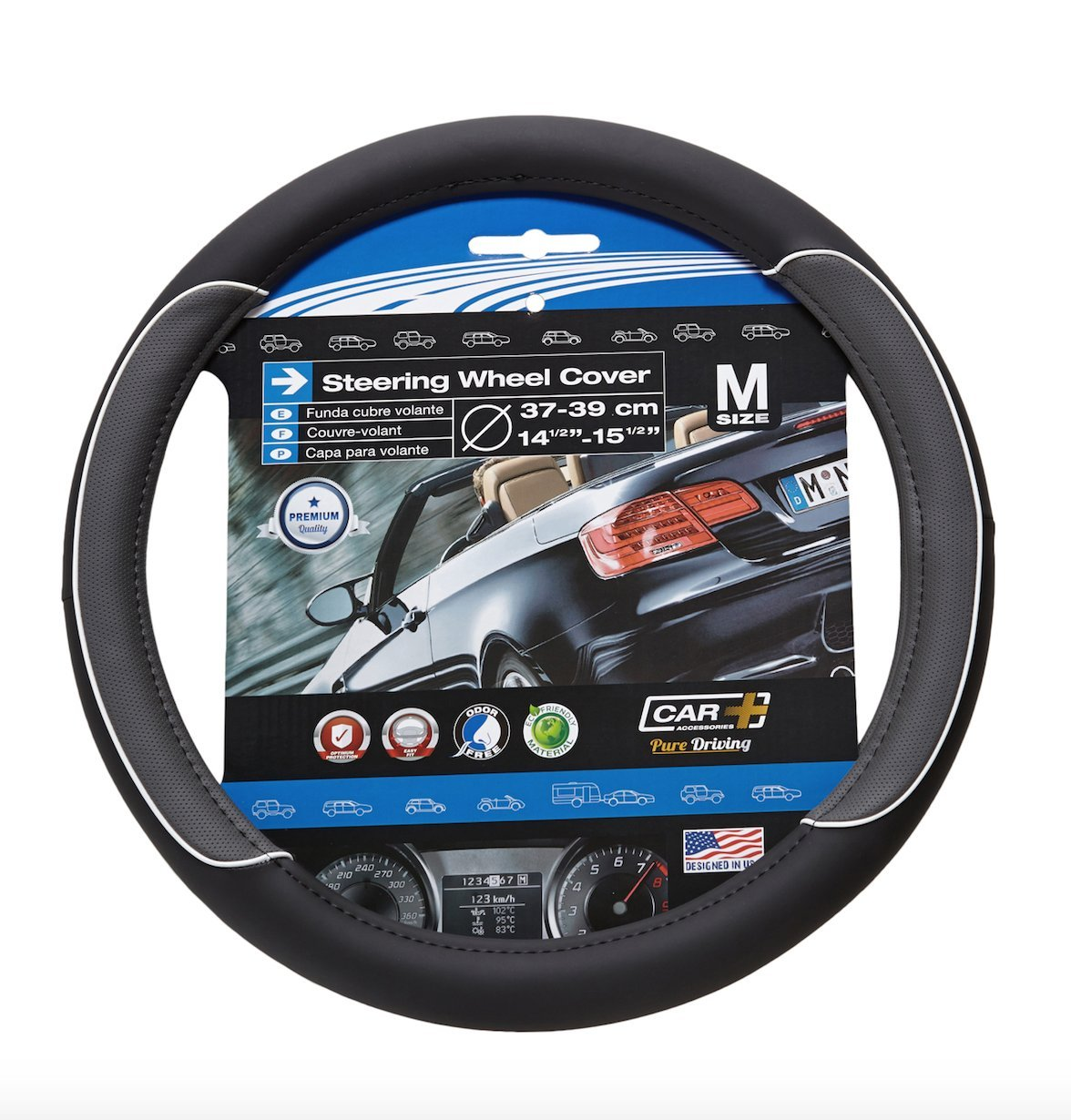 CAR STEERING WHEEL COVER WHITE LINE BLACK-GREY WITH WHITE LINE Fits 14.5 to 15.5