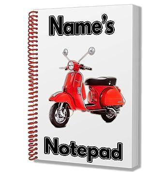 Vespa moto regalo personalizada – A5 bloc de notas/Notebook – cualquier nombre impreso en