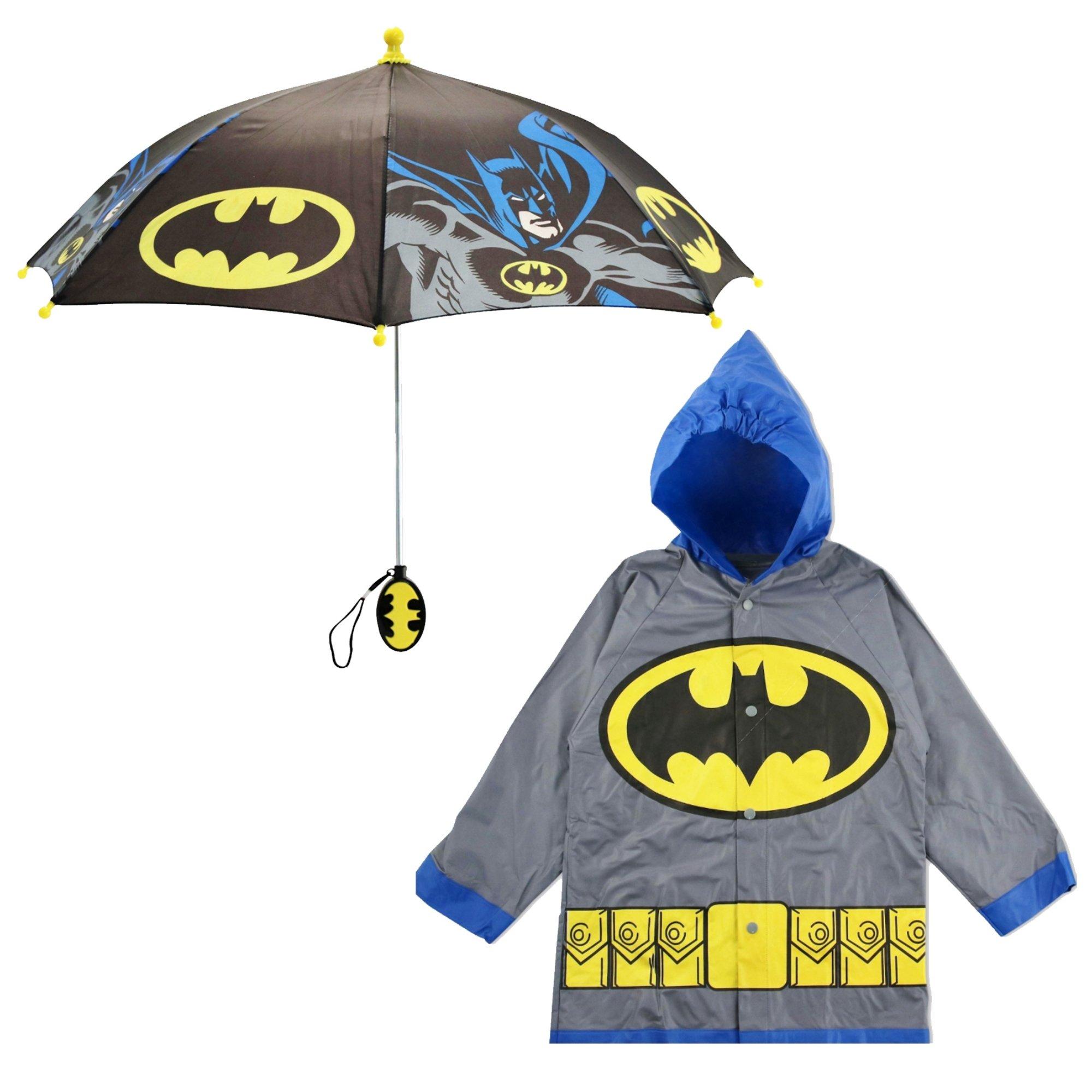 DC Comics Little Boys Batman Superman Slicker and Umbrella Rainwear Set, Grey Batman, Age 6-7